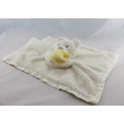 Doudou plat ours blanc foulard bleu lune TCM
