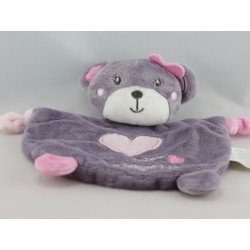 Doudou plat ours mauve rose Miss Choupette KIMBALOO