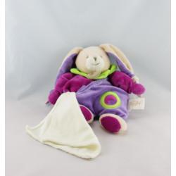Doudou Lapin violet rose vert mouchoir BABY NAT