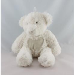 Doudou ours blanc coeur beige TEDDYKOMPANIET