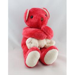 Doudou  ours rouge avec bébé AJENA