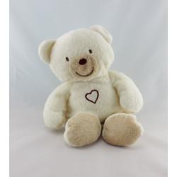 Doudou ours blanc beige coeur KIABI