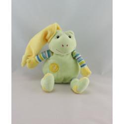 Doudou musical grenouille verte jaune GIPSY