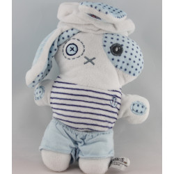 Doudou lapin blanc bleu marin TAPE A L'OEIL