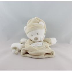 Doudou plat marionnette ours blanc écru oiseau étoile NICOTOY