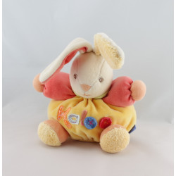 Doudou lapin jaune orange rouge boutons KALOO