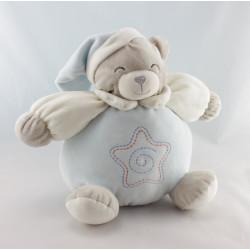 Doudou boule ours gris blanc bleu étoile GIFI