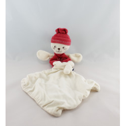 Doudou chat rouge blanc mouchoir Cajou SUCRE D'ORGE