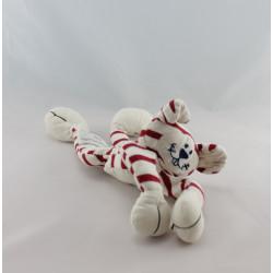 Doudou lapin rayé blanc rouge DPAM Du Pareil Au Même