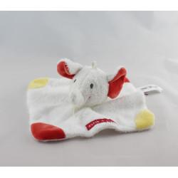 Doudou plat éléphant blanc rouge jaune SUCRE D'ORGE