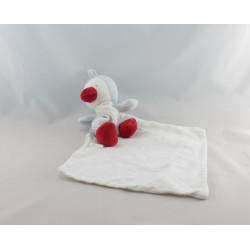 Doudou oiseau pingouin bleu blanc rouge mouchoir Cajou SUCRE D'ORGE
