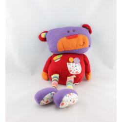 Doudou ours laine rouge violet orange FNAC EVEIL ET JEUX