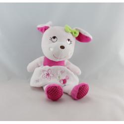 Doudou lapin rose blanc oiseau INFLUX