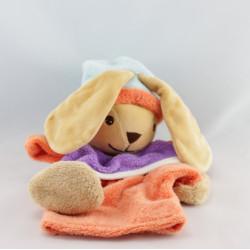 Doudou plat marionnette lapin orange violet bleu NOUNOURS