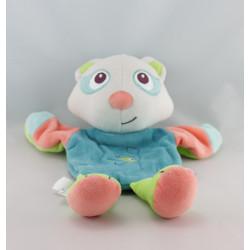 Doudou marionnette chat bleu vert rose SUCRE D'ORGE