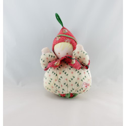 Doudou musical lutin rouge beige sapins COROLLE