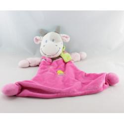 Grand Doudou plat vache rose pois foulard vert oiseau NICOTOY