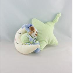 Doudou musical étoile chien bleu vert sur lune GIPSY