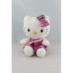 Peluche chat HELLO KITTY robe écossaise sac SANRIO LICENSE