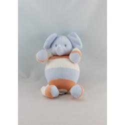 Doudou éléphant bleu blanc orange SUCRE D'ORGE