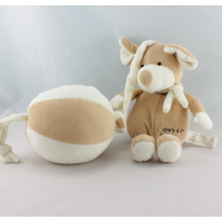 Doudou musical balle souris beige blanc CHARLY ET CIE