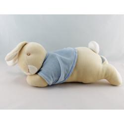 Doudou musical lapin beige bleu couché carotte EDEN