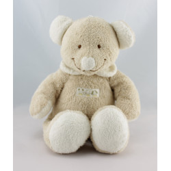 Doudou musical  souris Beige col blanc NICOTOY