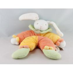 Doudou pantin lapin jaune orangevert BABY NAT