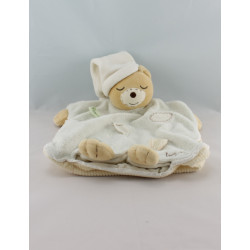 Doudou plat ours blanc jaune feuilles Collection Pure KALOO