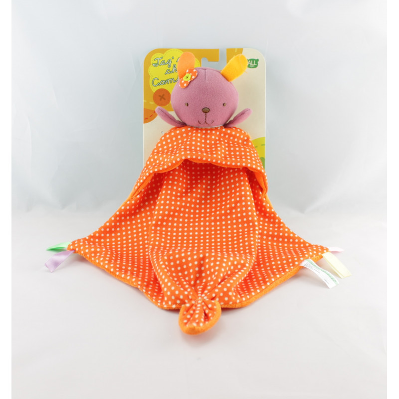 Doudou plat lapin rose orange pois ZEEMAN