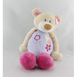 Doudou musical ours mauve rose fleurs JOLLYMEX