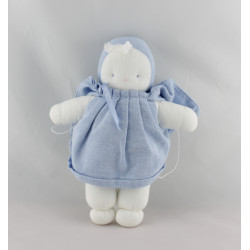 Doudou poupée chiffon blanche bleu BB PLAISIR