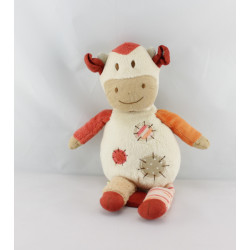 Doudou musical vache blanc beige orange NATURE ET DECOUVERTE