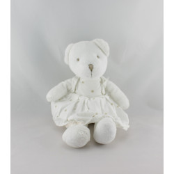 Doudou  ours blanc robe blanche pois beige
