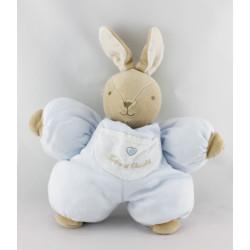 Doudou lapin bleu poche coeur TARTINE ET CHOCOLAT