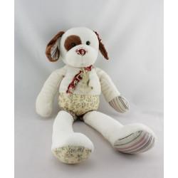 Doudou chien blanc marron imprimé HISTOIRE D'OURS