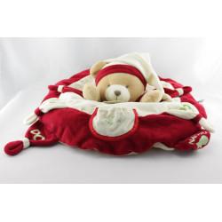 Doudou et Compagnie range pyjama coussin ours Nanou rouge blanc
