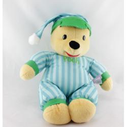 Doudou peluche winnie pyjama bleu vert rayé DISNEY