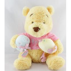 Peluche Winnie l'ourson  pull rose avec cadeau et oiseau DISNEY