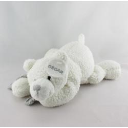 Doudou ours blanc écharpe grise Oscar