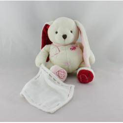 Doudou lapin blanc rouge rose mouchoir BABY NAT