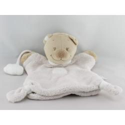 Doudou plat marionnette ours blanc rose nuage NATTOU
