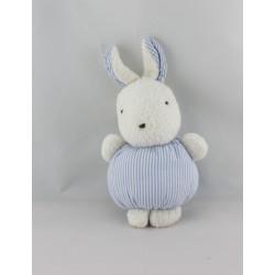 Doudou lapin blanc rayé bleu NOUNOURS