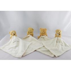 Doudou plat ours beige mouchoir Baby nat lot de 4