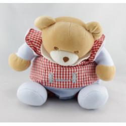 Doudou  ours bleu vichy rouge TAKINOU