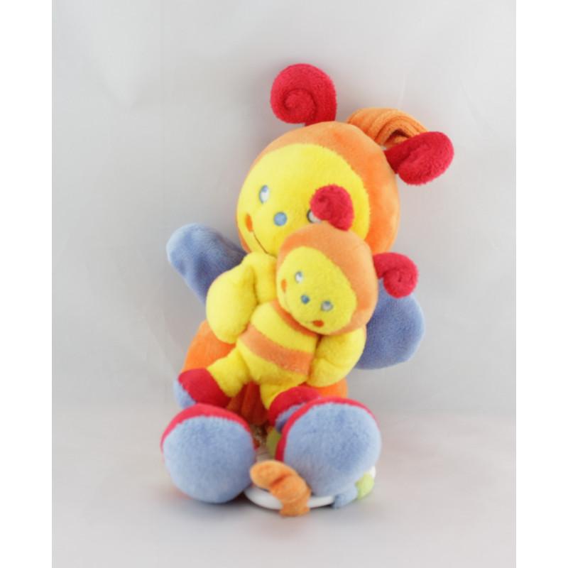 Doudou musical papillon orange multicolore avec bébé POMMETTE
