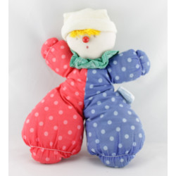 Ancien Doudou chiffon clown rouge bleu pois MOULIN ROTY