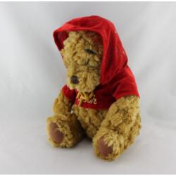 Peluche Winnie l'ourson pull rouge à capuche DISNEY