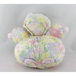 Doudou poupée chiffon fleurs rose jaune mauve COROLLE