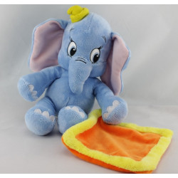 Doudou éléphant bleu mouchoir orange jaune Dumbo NICOTOY